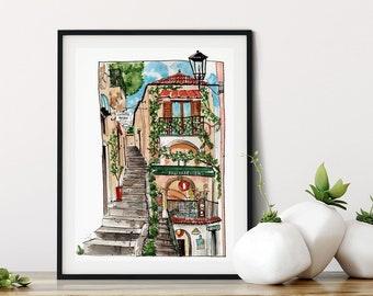 Positano Italy Watercolor Fine Art Print