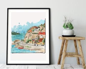 Mexican Beach Art Mazatlan Mexico Art Print, Coast of Mexico Print, Watercolor Art Print, Travel Print, Mexican Coastal Art