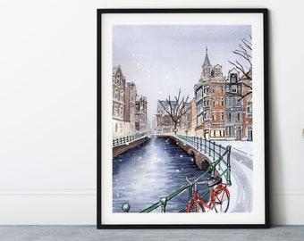 Amsterdam in Winter Watercolor Art Print