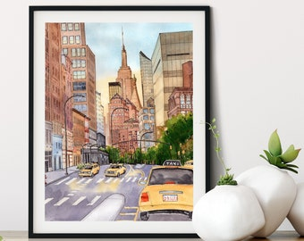 New York Streets, Colorful City Skyline Art, United States, sunset watercolor print, gift for travel lover, apartment decor, home office