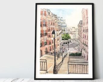 Large Wall Art: Paris Travel Poster, Steps of Montmartre, Apartment Decor, Paris Lover, Romantic Decor, Office Watercolor Art, Poster Art