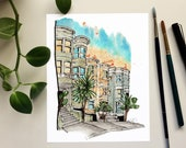 Travel Print: San Francisco Watercolour Art Print, Office Decor, United States, architecture print, urban streetscape, dad gift, wanderlust
