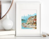 Mexican Sketch Art: Mazatlan Coastline Watercolor Art Print, Mexico Art, Travel Print, Bright Cheerful Living Room Decor, Mexican Watercolor