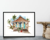 Beach Hut Watercolor Print, Tropical Art Print, Palm Print, Tropical Island art, wanderlust, bathroom decor, kitchen decor, travel art
