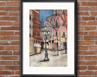 Streetlight Watercolor / Urban Sketch / Art Print / Watercolor Art Print / Vibrant Watercolor Print / European Streetlight Watercolor