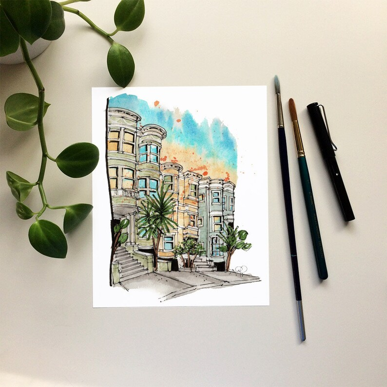Travel Print: San Francisco Watercolour Art Print Office image 0