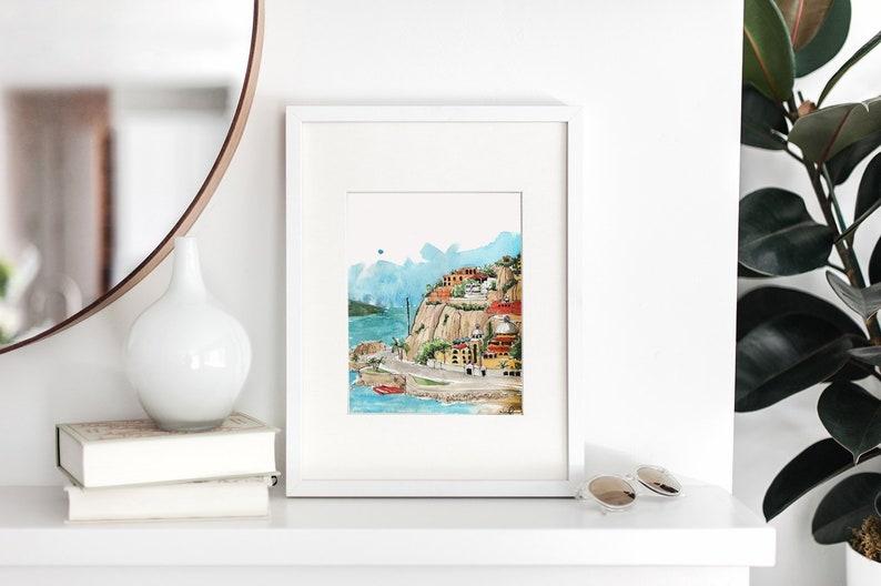 Mexican Sketch Art: Mazatlan Coastline Watercolor Art Print image 0