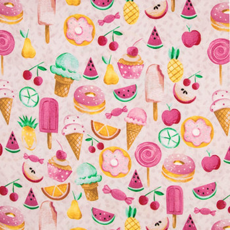 sweets fabric Favorite Food Cotton Fabric candy quilting cotton apparel fabric donut fabric 100/% cotton fabric ice cream fabric