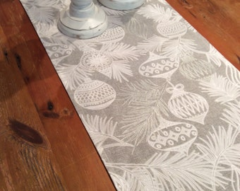 Elegant, Grey, White U0026 Silver Christmas Table Runners, Quality