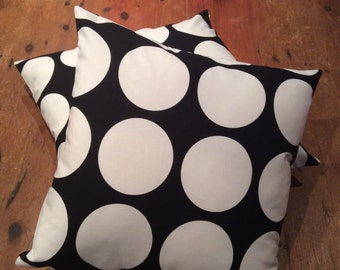 Retro Black and White Large Polka Dot Reversible Quality Cotton Cushion Covers