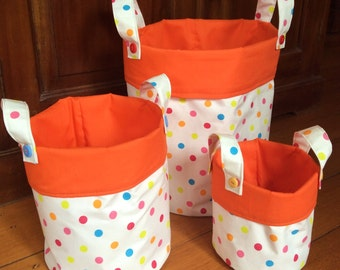 Storage Containers,Fabric Multi Colour Polka, Hand made Set of 3
