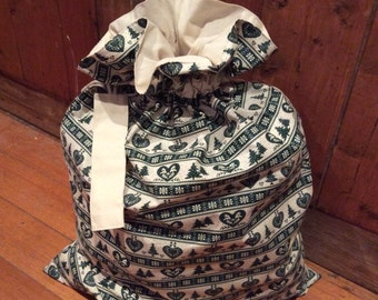 Nordic Green and Calico Quality Christmas Santa Sack, Hand Made, Large 54cm x 74cm, Fully Lined