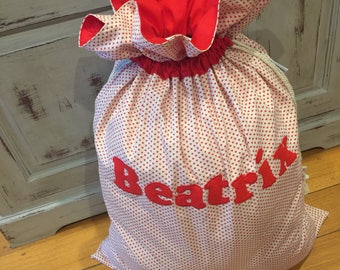 Personalised, Genuine Quality Christmas Santa Sack, Hand Made, Large 75cm x 55cm, Fully Lined