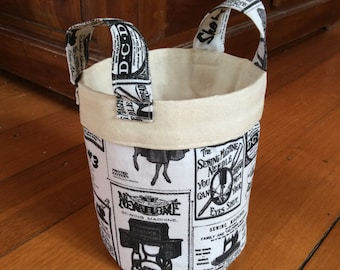Vintage Newspaper, 15cm x 14cm Fabric On Trend Storage Container, Black, Cream/Off White & Calico