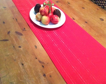 Red with Metallic Thread Table Runners, Wedding, Christmas,Quality Hand Made!