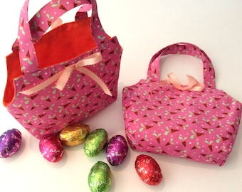 Easter Baskets/Gift Bags, Cute Pink & Orange , Quality Hand Made