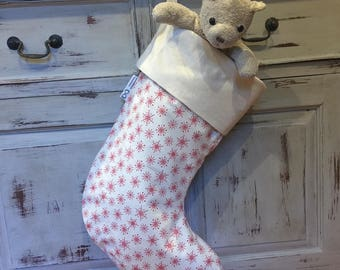 Christmas Stockings, Quality Padded and Lined, 55cm Long, Calico & Snowflake