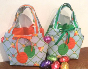 Cute Easter Baskets/Gift Bags, Quality Hand Made, Material, 26cm x 22cm Approx.