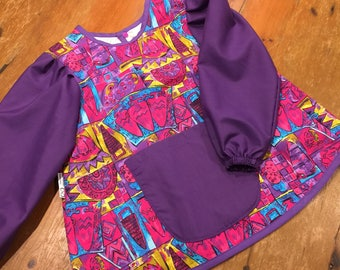 Art Smock/Apron With Sleeves, Bright Pinks & Purple Material Design, Quality Hand Made