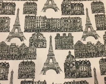 Cushion Covers, Black and Cream Paris, Quality Upholstery Cotton, Hand Made, Various Sizes