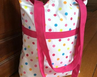Girls Tote, Beach, Shopping, Baby, Toy Bag, Fuchsia Pink And Multi Colour Polka Dot, 37cm x38cm