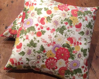 Shabby Chic Oriental Floral,Reversible, Quality Hand Made Cushion Cover 45cm x 45cm