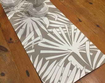 Taupe Large Fern Indoor/Outdoor Weatherproof Canvas Table Runners, Quality Hand Made