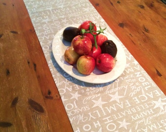 Modern On Trend,Taupe and Crisp White Christmas Table Runners, Quality Hand Made!