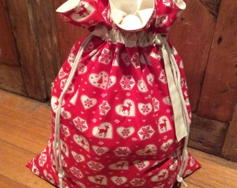 Red Hearts and Calico Quality Christmas Santa Sack, Hand Made, Large 54cm x 74cm, Fully Lined