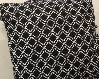 Black And White Keyhole Cushion Cover, Various Sizes, Cotton, Quality Hand Made