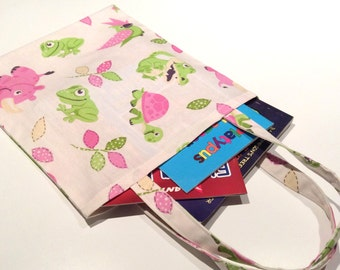 Girls School Library Bag, Pink & Lime Baby Animal, 32cm x28cm