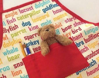 Boys/Unisex Art/Craft Apron, Red & Multi Colour Animal Word, Quality Hand Made