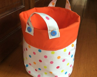 Medium 21x19cm, Storage Container,Fabric Multi Colour Polka