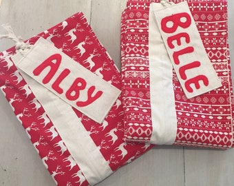Name Tag Personalised, Quality Christmas Santa Sack, Hand Made, Large 75cm x 55cm, Fully Lined