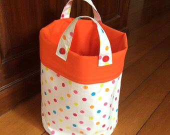 Large 30x24cm, Storage Container,Fabric Multi Colour Polka
