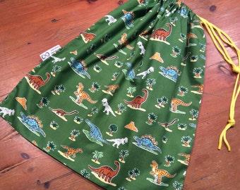 Library, Toy Bag, Sport, Large 35 x 45cm, Dinosaur Animal Green, Drawstring, Quality Hand Made