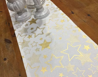 Christmas/Wedding Formal Table Runners, Modern Crisp White With Gold Stars, Quality Hand Made!