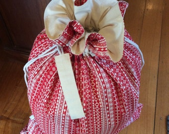 Red Nordic and Calico Quality Christmas Santa Sack, Hand Made, Large 54cm x 74cm, Fully Lined