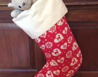Christmas In July, Christmas Stockings,Large Quality Padded and Lined, 55cm Long, Calico & Red Heart