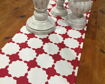 Last One! Table Runners, Dark Red & White Geometric, Quality Hand Made, 110cm x 33cm