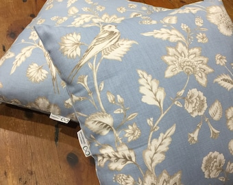 Last One! Cushion Covers 45cm, Duck Egg & White Floral, Bird, Provincial, Quality Hand Made