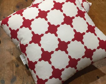 Modern, Retro, White and Red Geometric Reversible Quality Cotton Cushion Covers, 45cm x 45cm Limited Stock! Last Ones!