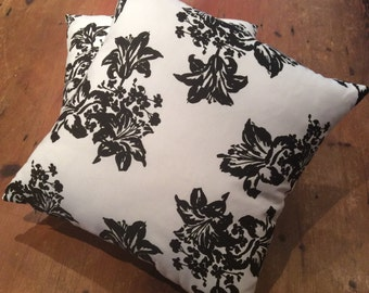 Cushion Cover, Various Sizes Black And White Lily, Cotton, Quality Hand Made
