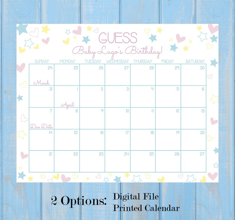 DIGITAL/PRINT Bun in the Oven Baby Reveal Gender Reveal / Baby Shower Guess  the Birthday Game