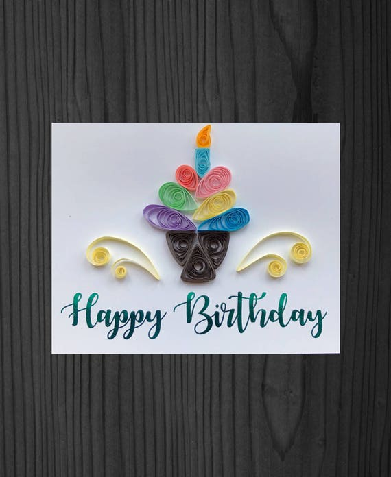 Quilling Cupcake Birthday Card Etsy