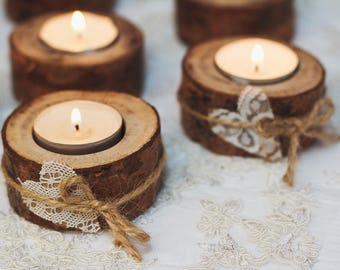 d991590119 15 set Wood tealight holders Rustic wedding decor Woodland candle holders  Lace hearts candle holders Wedding table decorations natural wood