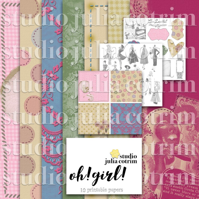 Oh Girl Printable Paper Pack  Scrapbook Paper  Printable image 0