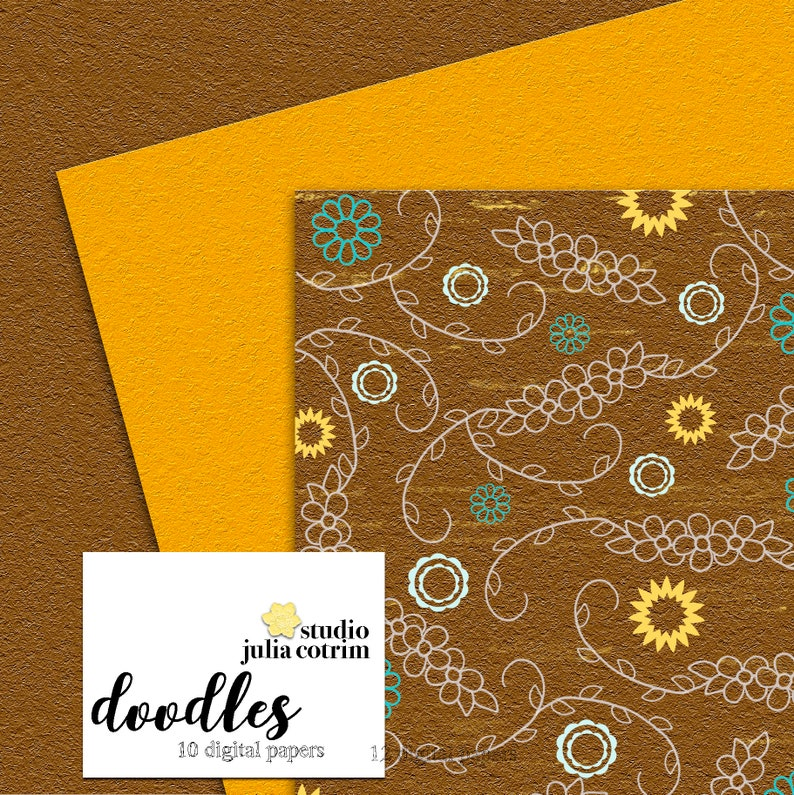 Doodles Printable Paper Pack  Scrapbook Paper  Printable image 1