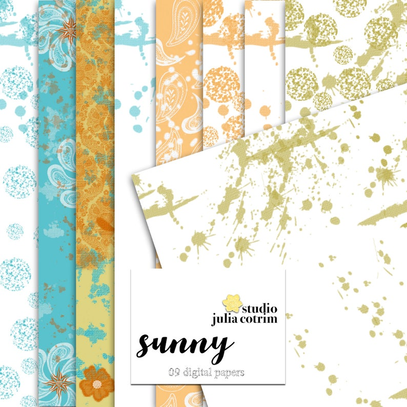 Sunny Printable Paper Pack  Scrapbook Paper  Printable image 0