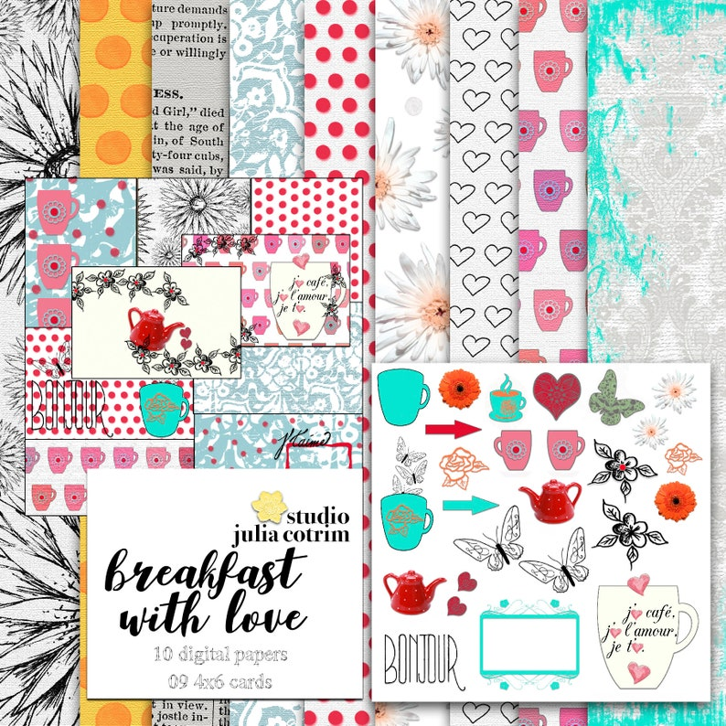 Breakfast With Love Printable Paper Pack    Scrapbook Paper  image 0